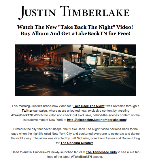 Justin Timberlake Social Media Newsletter