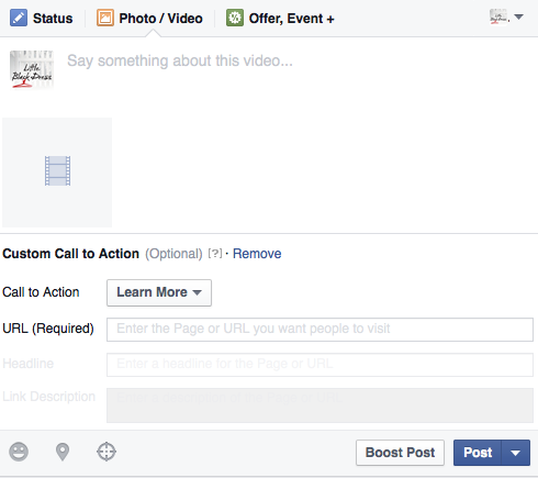 Facebook Video Tip call to action